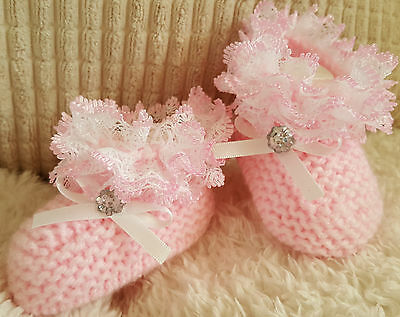 Baby Girls Hand Knitted Boots/ Booties - Pink - Lace - Eb, Nb, 0-3, 3-6 Months