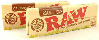 2 Pack Raw Organic Hemp Natural 1 1/4 Cigarette Rolling Papers 64 Leaves 3215-2