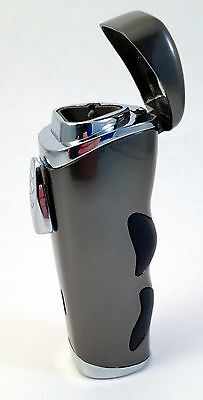 Triple Flame Lighter with Cigar Punch Cutter Gunmetal in a Gift Box - 3403