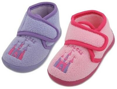 Junior Girls Pink Lilac Fleece Princess Castle Embroidered Boot Slippers UK 4-10