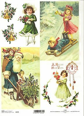 Vintage Girls Christmas  A4 ITD R198 Rice Paper for Decoupage Scrapbooking