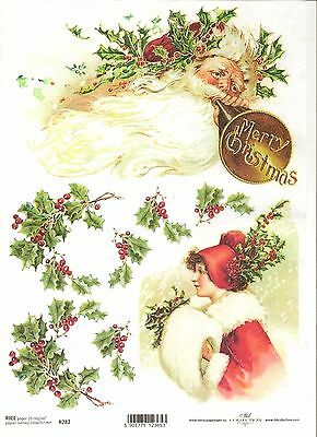 Rice Paper for Decoupage Scrapbooking Christmas Holly Bird Birdhouse A4 ITD R594