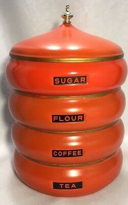 Vintage MOD Mid Century 60s 70s Beehive Stacking Canisters Lincoln Beautyware