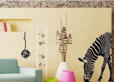 Large Zebra Art Wall Decal Decor Room Stickers Vinyl Removable Paper Home Mural
