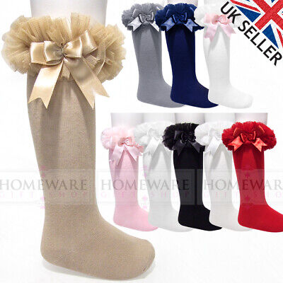 Girls Baby Tutu Socks Spanish Knee High Satin Bow Socks Soft Frilly Kids 0-6 Y