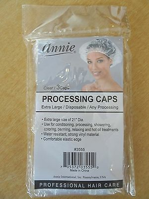 NEW Annie Processing Caps - Extra Large - Clear - 24- 3 packs/72 caps total