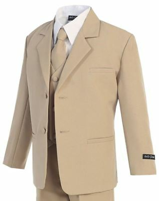 Boys Khaki Suit 2T-20 Beige Kids Formal Wear Wedding Recital Church New
