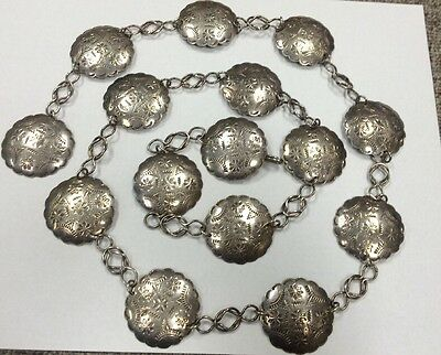 Hand Chased Sterling Silver Concho Belt w/ hallmarks Mexico TS-77 925