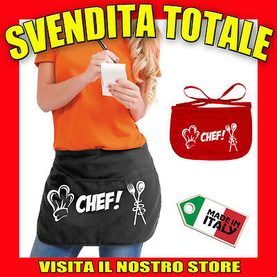 Grembiule Uomo Donna Da Cucina Bar Chef Con Tasca Idea Regalo Chef