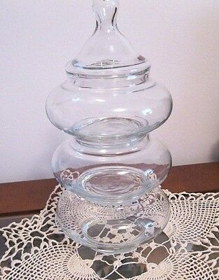 "Vintage Clear Glass Canister Candy Dish 3 Tier 12"" Tall with lid"