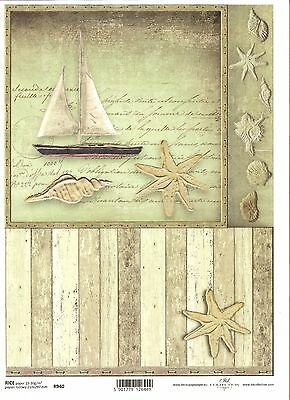 Rice Paper for Decoupage Scrapbooking Ship Boy Seashell Letter A4 ITD R948