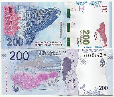 New !!! Note Argentina 200 Pesos (2016) Unc Serial A !!!! Southern Whale