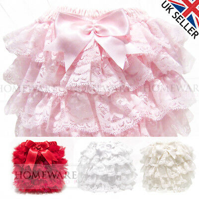 Girls Baby Frilly Knickers Spanish Style Designer Frilly Pants Satin Bow 0-3 Y