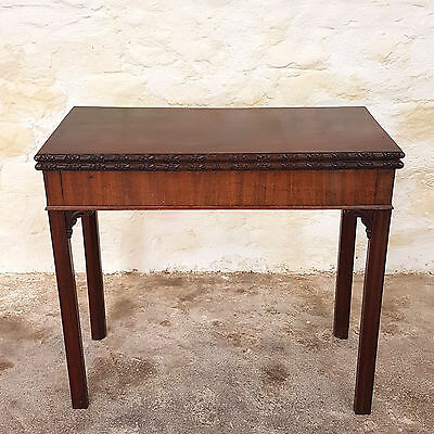 George III Carved Mahogany Fold Over Card Table - C1780 (Georgian Antique)