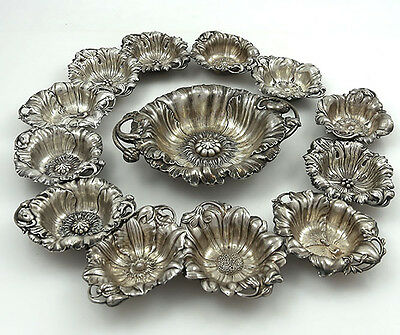 Reed & Barton Set Sterling Dishes 1 Large and 12 Smaller FLOWERS