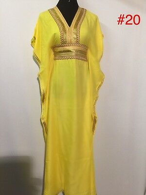 Kaftan Maxi Dress Moroccan Abaya Dubai Long Arabian Farasha Eid one size 8-20 Uk