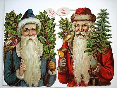 Vintage Victorian Antique Christmas Die-Cut w/ Two Santa's, Holly & Tree *