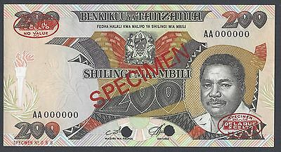 Tanzania 200 Shillings ND 1986 P18as Specimen TDLR Uncirculated