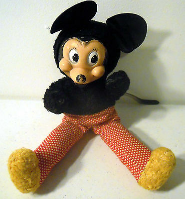 ANTIQUE EARLY WDP WALT DISNEY MICKEY MOUSE DOLL TOY (Plush and Rubber)