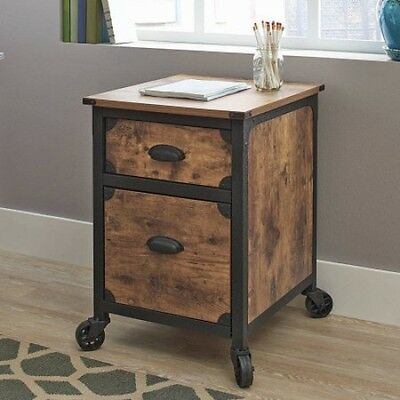 File Cabinet 2 Drawer Rustic Wood Metal Country Industrial Home Office Furniture