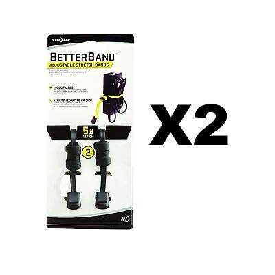"""Nite Ize BetterBand 5"""" Black Adjustable Stretch Bands Durable Laces(2-Pack of 2)"""