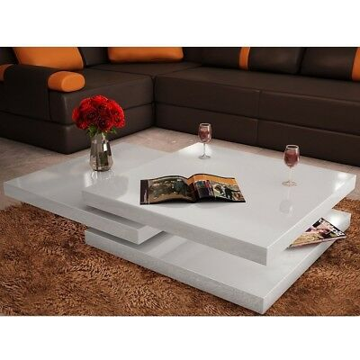 White Square Coffee Table High Gloss Room Living Modern Storage Furniture