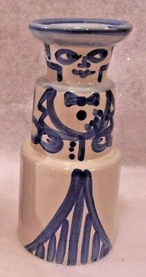 Vintage Handpainted M.A. Hadley Pottery Candle Holder Folk Art