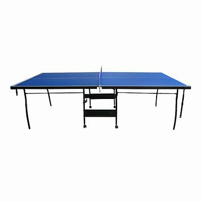 ALEKO Indoor Portable Tennis Table With Net Set And Caster Wheels, Blue