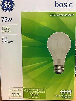 12~4 Packs GE Incandescent Light Bulb 75 Watt Basic A19 Base Total Of 48 Bulbs