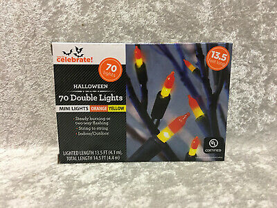 70 Double Mini Candy Corn Lights Orange Yellow  Indoor/Outdoor Halloween