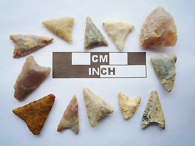 Neolithic Arrowheads, 12 x Triangle Artifacts - 4000BC - (Q143)