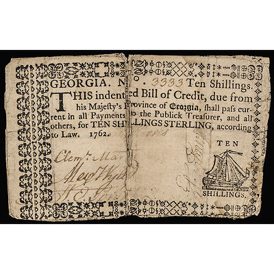 Colonial Currency, Georgia 1762 Ten Shillings. Ship Vignette PCGS Very Fine-20