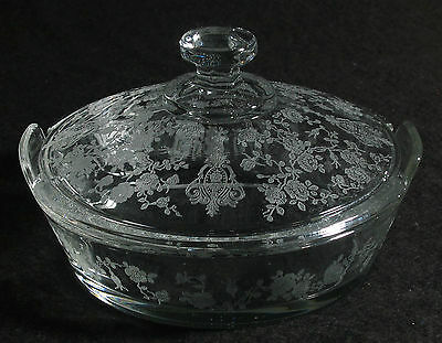 Cambridge ROSE POINT Crystal BUTTER DISH with LID - Rare