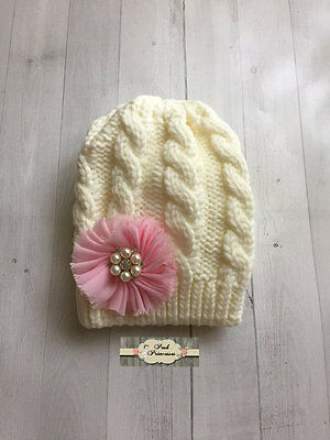 Large Pink Flower On Ivory Knit Hat, Toddler Winter Hat, Baby Winter Hat,