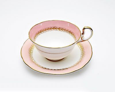 Aynsley Teacup and Saucer Bone China England Gold Laurel & Trim On Pink Rim 8109