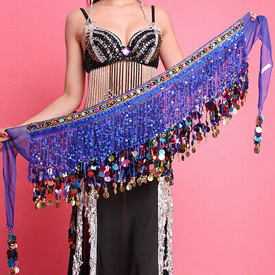 Women Ladies Chiffon Belly Dance Hip Scarf Skirt Coins Sequin Tassel Wrap Belt