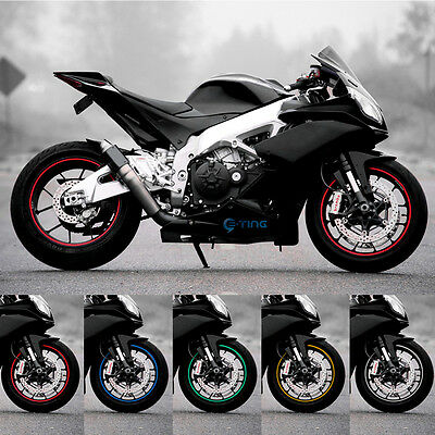 "17"" Reflective Motorcycle Car Rim Stripe Wheel Tape Decal Stickers 5 Colors ET"