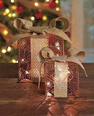 Set of 2 NATURAL Lighted Gift Boxes Presents Christmas Decorations Home Decor