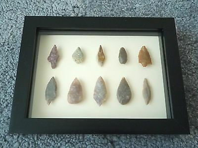 Neolithic Arrowheads in 3D Picture Frame, Authentic Artifacts 4000BC (0431)
