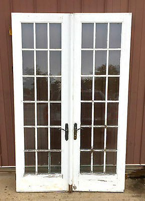 "Pair VTG FRENCH DOORS Double Entrance 96"" x 61"" ARCHITECTURAL SALVAGE 18 Pane"