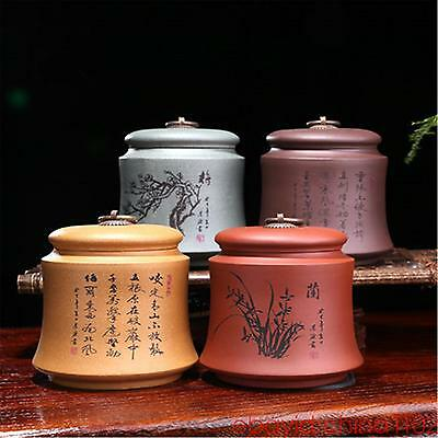 4PCS China YiXing Zisha jar set flower tea caddy Storage Canister Container