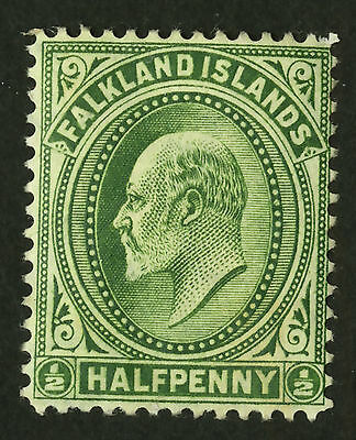 Falkland Islands  1904-07  Scott # 22  Mint Hinged (Deep Yellow Green)