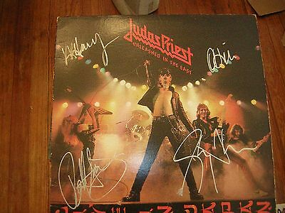 - Judas Priest Signed  Lp Unleashed In The East Rob Halford
