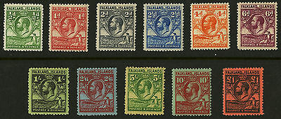 Falkland Islands  1929-31  Scott # 54-64  Mint Lightly Hinged Set