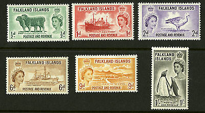 Falkland Islands  1955-57  Scott #122-127  Mint Very Lightly Hinged Set
