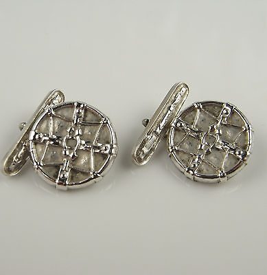 Celtic Double Sided Sterling Silver Cufflinks Vintage Cuff Links Mens Wedding