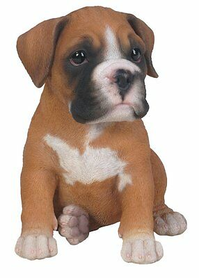 Boxer Puppy Sitting Realistic Intricately Detailed Figurine Dog Figurine