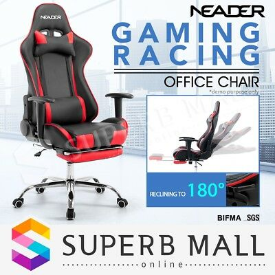 PU Leather Computer Office Chair Executive Gaming Racing Recliner Seat Footrest