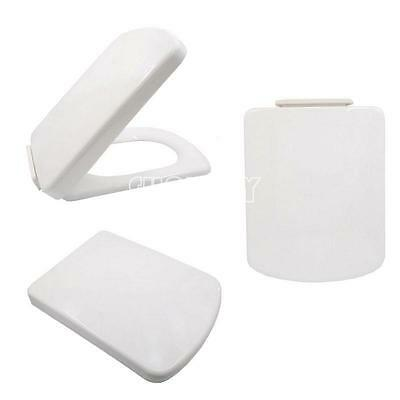 Square Soft Close Toilet Seat Bottom Fixing Easy Clean White Modern