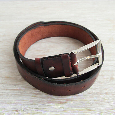 Brown Mens Waist Band Wide Casual Leather Belt Handmade Boy Accessory Gift